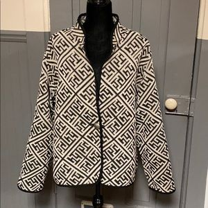 Vintage Geometric Print Textured Reversible Jacket